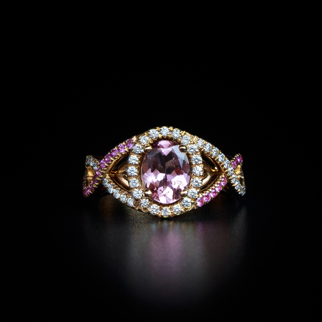 Bague en Or Rose 18K sertie d'une tourmaline 1,21Ct et de saphirs roses et diamants